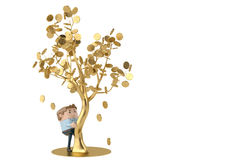 A man collects gold coins under the golden tree.3D illustration. Stock Photo