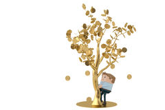 A man collects gold coins under the golden tree.3D illustration. Royalty Free Stock Photo
