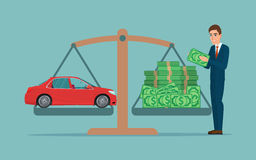 Man collects money for a car and weighs in the balance Business Stock Image