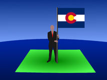 Man on Colorado map with flag Stock Photography