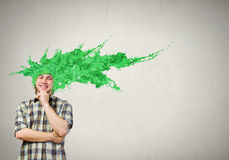 Man with colored head Royalty Free Stock Image