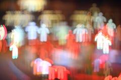 Man. Colorful bokeh man shape ,city at night stock image