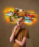 Man with colorful glowing photo memories concept Royalty Free Stock Images