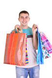 Man with colorful shopping bags Royalty Free Stock Images