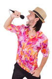 Man in colourful shirt isolated on white Royalty Free Stock Photography