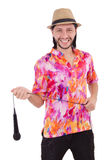 Man in colourful shirt isolated on white Royalty Free Stock Photo