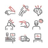 Man in a coma. Hospital bed. Infographic line icons. Vector vector illustration