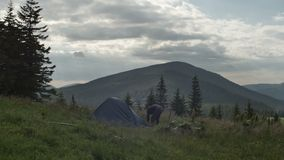 A man comes out of the tent installed in the reserve outdoors among the trees stock footage