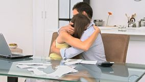 Man comforting his girlfriend stock video footage