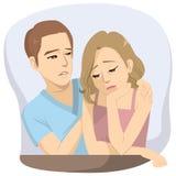 Man Comforting Sad Woman. Worried couple man comforting sad depressed woman royalty free illustration
