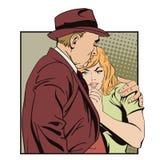 A man comforts beautiful young girl. Stock Photos