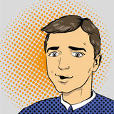 Man in comics retro pop art style. Vector illustration.  Royalty Free Stock Photo