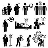 Man Common Diseases and Illness Cliparts. A set of human pictograms representing common disease for human such as Alzheimer, diabetes, high cholesterol, hiv royalty free illustration