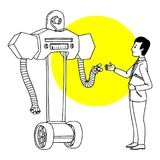 Man communicating with robot. Futuristic situation illustration. Vector isolated outline sketch.  Stock Images