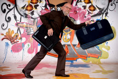 Man commuter, urban graffiti Royalty Free Stock Images