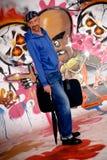 Man commuter, urban graffiti royalty free stock image