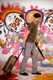 Man commuter, urban graffiti Royalty Free Stock Photography