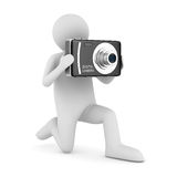 Man with compact digital camera. Isolated 3D Stock Image