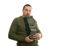 Man with compact disc royalty free stock photos