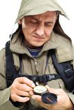 Man with compass Stock Photography