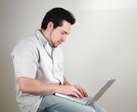Man and computer-1 Stock Images