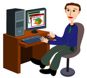 Man with computer Royalty Free Stock Photos