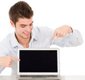 Man with a computer Royalty Free Stock Images