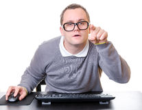 Man with computer Royalty Free Stock Photography