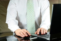 Man with computer. Married man write in the computer Royalty Free Stock Images