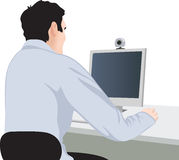 Man and computer, back view. Man and computer, vector illustration, back view stock illustration