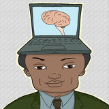 Man With Computer Brain Stock Photography