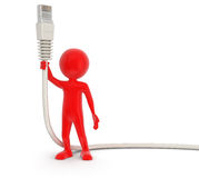 Man and Computer Cable (clipping path included) Royalty Free Stock Photo