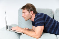 Man with computer royalty free stock images
