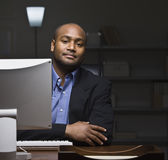 Man at Computer Desk Royalty Free Stock Image