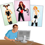 Man on computer with female figures Stock Photo
