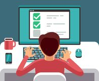 Man at computer filling online questionnaire form. Survey vector flat concept. Feedback and questionnaire online, survey and report illustration Stock Photos