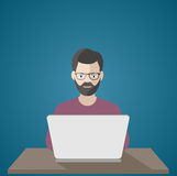 Man at the computer .frilanser at work illustration Royalty Free Stock Photos