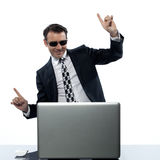Man computer hacker satisfied internet piracy. Man computer hacker satisfied caucasian in studio isolated on white background Royalty Free Stock Photo