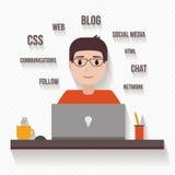 Man with computer Stock Photos