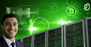 Man with computer servers and bitcoin technology information interface. Digital composite of Man with computer servers and bitcoin technology information royalty free stock image