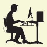 Man on Computer Royalty Free Stock Photography