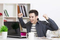 Man computer success. Man smiling with computer laptop, success Stock Photos