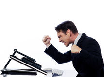 Man computing computer conflict bug concept Royalty Free Stock Images