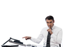 Man computing  computer hush silence Royalty Free Stock Photos
