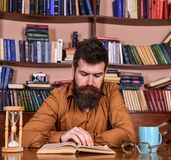 Man on concentrated face reading book, studying, bookshelves on background. Self education concept. Teacher or student. With beard studying in library. Man sits Royalty Free Stock Image