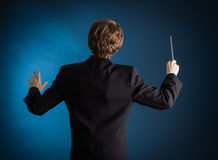 Man conducting an orchestra Royalty Free Stock Photography