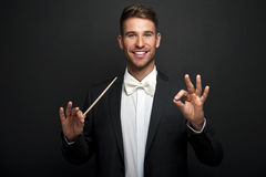 Man conducting an orchestra Stock Photography