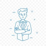 Man confident with folded arms vector doodle icon royalty free illustration
