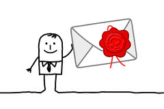Man & confidential mail. Hand drawn cartoon characters - man & confidential mail Stock Images