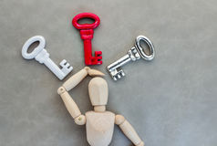 Man confuse with many keys Stock Image